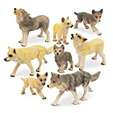 TOYMANY 8PCS Wolf Figures Forest Animals Toy Figurines - Plastic Jungle Zoo Animal Figurines for Kids Boys Girls Age 3-5 6-12