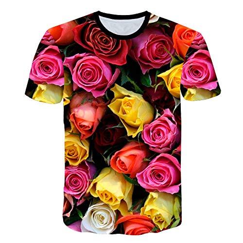 RKWEI T-shirt à manches courtes pour homme Motif fleurs de rose 3D XXXXXL multicolore