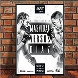 MXIBUN Cartel e Impresiones UFC 244 Fan Nate Diaz vs Jorge Masvidal 2019 Evento Cuadro de Arte de Pared Lienzo de Pintura Home Room Decor sin Marco 30 * 42cm 2