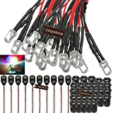 """Ltvystore 70Pcs 3MM 12V 7Colors Fast Fash LED Pre Wired Prewired 7.87"""" Lamp Light Bulb Prewired Emitting Diode & Black 3mm LED Clip Holder Panel Mount & 9V Battery Holder Clip Snap On Connector Cable"""