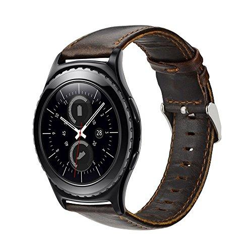 MroTech Bracelet Gear S2 Classic Cuir Véritable Bandes de Montre 20mm Compatible pour Samsung Galaxy Watch 42mm/Galaxy Active/Withings Steel HR/Vivoactive 3/ Huawei Montre 2 Bracelet 20 mm Chocolat