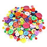 Baaxxango 600-700 Pieces Resin Buttons Assorted Colors and Shapes Buttons for DIY Crafts Sewing Decorations, 2 Holes and 4 Holes