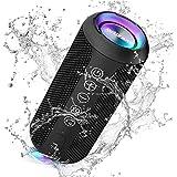 Ortizan Bluetooth スピーカー 防水IPX7 ワイヤレススピーカー お風呂適用 LEDライト付き 30時間連続再生 24W出力 小型 重低音 高音質 ポータブルスピーカー TWS対応でステレオ TFカード対応 USB充電 スマホ PC 車用