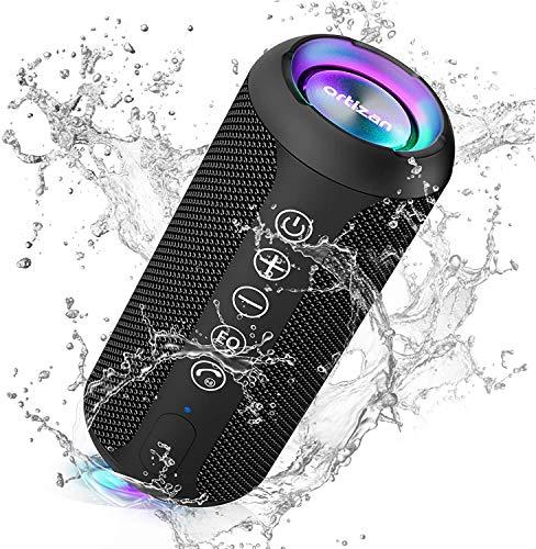 Ortizan Bluetooth スピーカー 防水IPX7 ワイヤレススピーカー お風呂適用 LEDライト付き 30時間連続再生 24W出力 小型 重低音 ポータブルスピーカー TWS対応でステレオ TFカード対応 USB充電 スマホ PC 車用