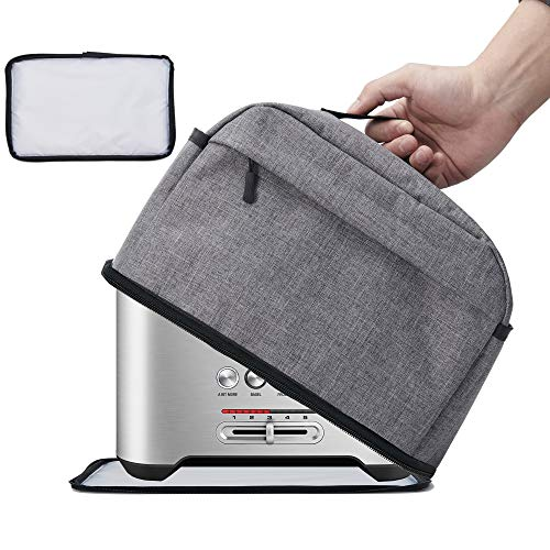 VOSDANS 2 Slice Toaster Cover with Removable Bottom 2-in-1 Toaster Bag with Pockets Toaster Storage Bag with Handle, Dust and Fingerprint Protection, Machine Washable, Gray (Patent Design)