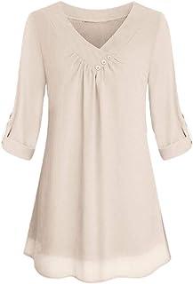 Generic Women Loose V Neck Tops Elegant Chiffon Blouses Long Sleeve Solid Shirts