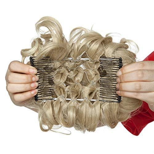 Haar Extensions Haarteil Dutt Haarverlängerung Haargummi Hochsteckfrisuren Donut wie Echthaar Aschblond bis Bleichblond