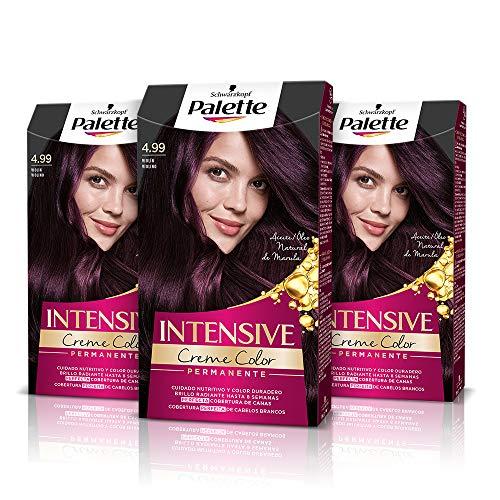 Schwarzkopf Palette Intensive Creme Color - Tono 4.99 cabello Violín (Pack de 3) - Coloración Permanente de Cuidado con Aceite de Marula – Perfecta cobertura de canas – Color duradero hasta 8 semanas