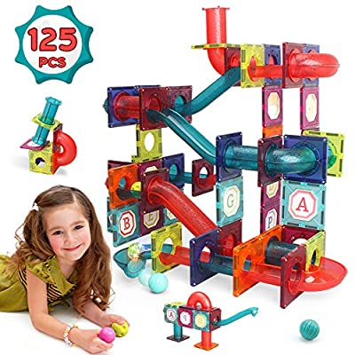 LUKAT Magnetic Tiles, 125 Piece Pipe Magnetic Blocks for Toddlers, 3D Magnets Toys, STEM Toy Preschool Educational Magnetic Tiles Building Set Gift for Kids Boys Girls 3 4 5 6 7 8+ Year Old