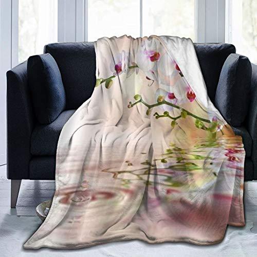 DAOPUDA Manta De Tiro De Lana Suave,Las orquídeas riegan Hermosas Flores con rocío en el Estanque del jardín Zen japonés,Home Hotel Sofá Cama Sofá Mantas para Parejas Niños Adultos,150x200cm