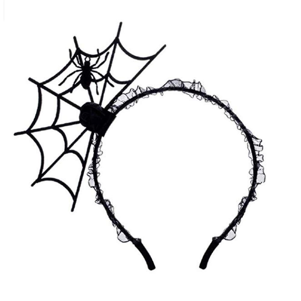 Halloween Cosplay Spider Hair Hoop-New Trendy Spiders Web Headband Headdress Hallowmas Party Gift Urchart (Black #1)