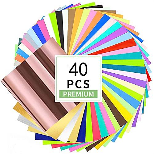 Wishesther 40 hojas de vinilo autoadhesivas de 30 x 30 cm, 40 colores, papel de vinilo de transferencia permanente para Cricut, silueta, máquina de corte, manualidades, decoración del hogar, logotipo