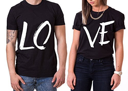 Love King Queen Partnerlook Camiseta de los Pares Dulce para Parejas como Regalos, Größe2:XL;Partner Shirts:Herren T-Shirt Schwarz