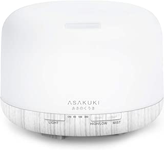 ASAKUKI 500ml Premium Essential Oil Diffuser, 5 In 1 Ultrasonic Aromatherapy Fragrant Oil Vaporizer Humidifier, Purifies The Air, Timer and Auto-Off Safety Switch, 7 LED Light Colors White