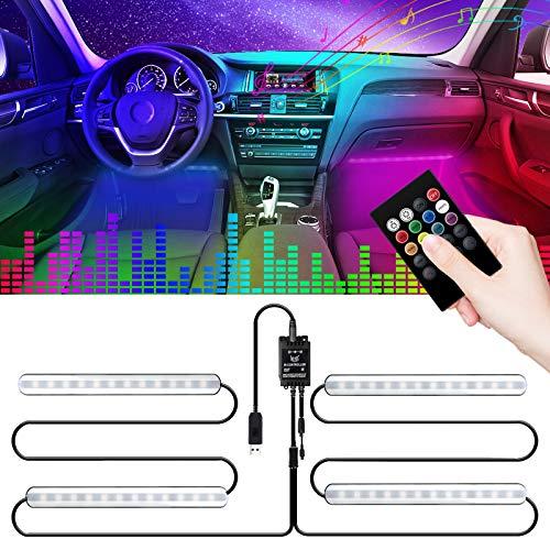 LED Innenbeleuchtung Auto, LEICESTERCN Fußraumbeleuchtung mit Fernbedienung, RGB Ambientebeleuchtung Auto Innenraum LED Strip Atmosphäre Licht mit USB Port und Musik Steuerbar