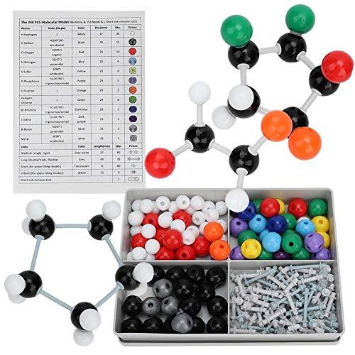 Modelo molecular, 240 piezas Kit de estructura de bioquímica inorgánica orgánica molecular Modelo de enlace atómico Química Conjunto de estructura de órbita electrónica para niños Educación Enseñanza