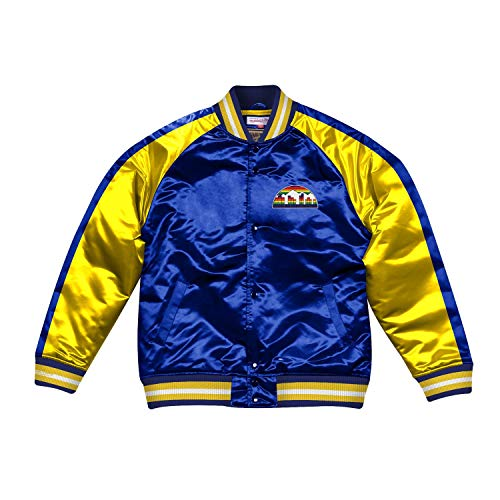 Mitchell & Ness NBA Color Blocked Satin Jacket (D. Nuggets, Royal, XL)