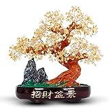 Crystal Money Tree Citrine Fortune Tree Sala De Estar Interior Entrada Gabinete Festival del Vino Decoración Meditación Espiritual Suerte Dinero Decoración para El Hogar Crystal Feng Shui Tree Orname