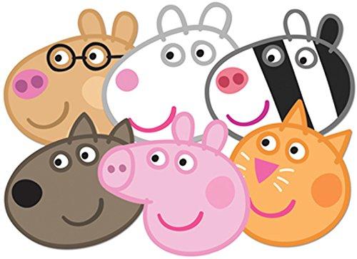 STAR CUTOUTS–stsmp91–6máscaras–Danny Pedro Peppa Zoe Suzie Candy–Peppa Pig–Talla única