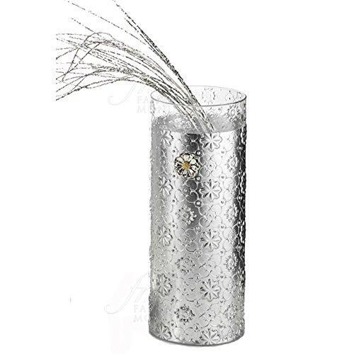 Glazen vaas verzilverd design gelakt zilver geschenk bruiloft Acca V.630 VA