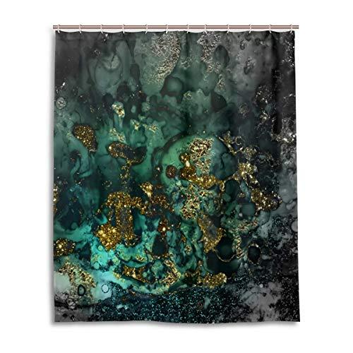 N/A Gold Indigo Malachit Marmor Duschvorhang 183 x 183 cm mit 12 Haken
