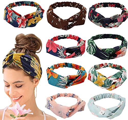 9 diademas para mujer, diadema para el pelo, diadema para mujeres, cinta para el pelo con estampado de flores, nudos elásticos, para niñas