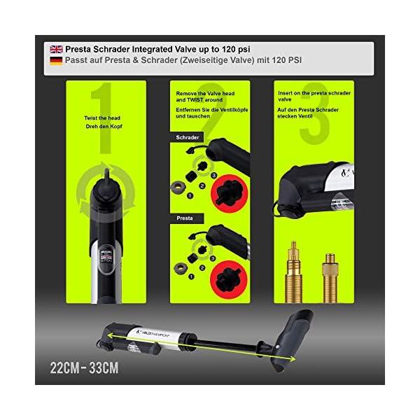 VeloChampion Bomba de Bicicleta Alloy 9 con manómetro y Parches de reparación de pinchazos. Presta/Schrader 8.3 Bar (120…