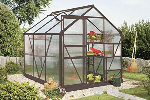 Vitavia Gewächshaus Calypso - Ausführung: 4400 HKP 6 mm Dunkelgrau, Fläche: ca. 4,4 m², Fenster: 1, Maße: 195 x 223 cm, Sockel: 192 x 228 cm