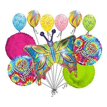 Jeckaroonie Balloons 11 pc Psychedelic Hippie Butterfly Happy Birthday Balloon Bouquet Party Tie Dye