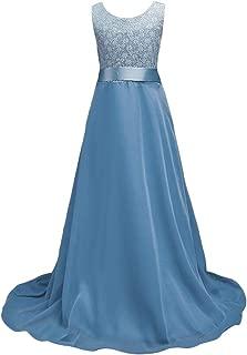 Girls Lace Party Dress Sleeveless Chiffon Wedding Long Dress