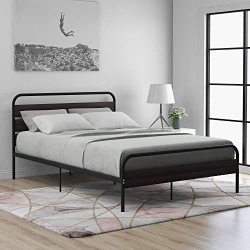 Marco de cama con cabecero y plataforma de madera, estructura de cama individual de metal con gran capacidad de almacenamiento para adultos, niños y adolescentes, fácil de montar (negro, 140 x 200 cm)
