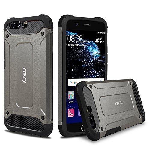 J&D Compatible para Huawei P10 Plus Funda, [Armadura Delgada] [Doble Capa] [Protección Pesada] Híbrida Resistente Funda Protectora y Robusta para Huawei P10 Plus - NO para Huawei P10 - Metálico Negro