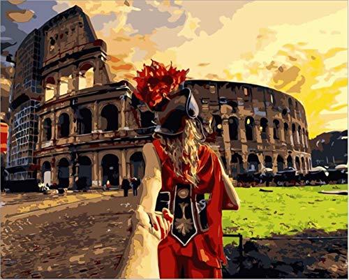 ARTEZXX DIY schilderen op cijfers - Romantische Romantische Romeinse Arenalandschap 40x50 cm olieverfschilderij geschenk voor volwassenen kinderen schilderen op nummer kits huis decoratie - (geen lijst)