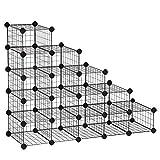 SONGMICS 5-Tier Shoe Rack, Space-Saving 15-Pair Metal Shoe Organizer Units, Modular Cube Storage, Ideal for Entryway Hallway Bathroom Living Room, 44.5 L x 14.2 W x 34.6 H Inches, Black ULPI44HS