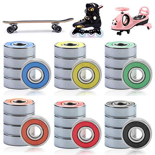 LeonBach 30 Pcs 608RS Bearings, 6 Colors Roller Skate Bearings Skateboard Bearings Motorcycle Bearings Speedplay Bearings, ABEC-9