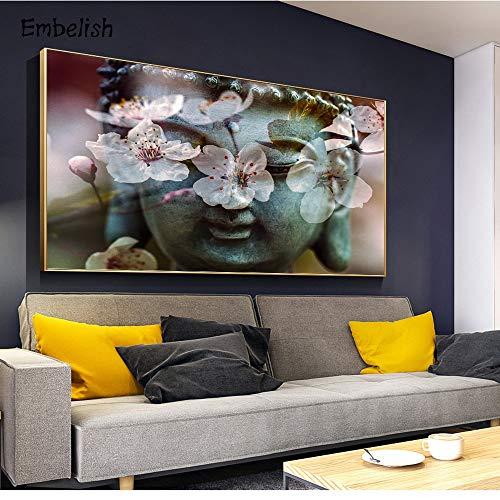 KWzEQ Leinwanddrucke Zen Buddha Kopf und Blume auf Wandkunst für Schlafzimmer Wohnzimmer30x40cmRahmenlose Malerei