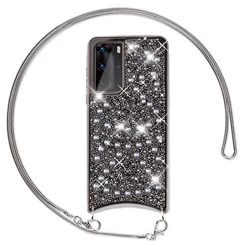 NALIA Glitzer Hülle mit Kette kompatibel mit Huawei P40 Pro Hülle, Diamant Schutzhülle und Umhänge-Band, Slim Necklace Pailletten Cover Strass Handy-Tasche, Glänzende Silikon Handyhülle, Farbe:Schwarz