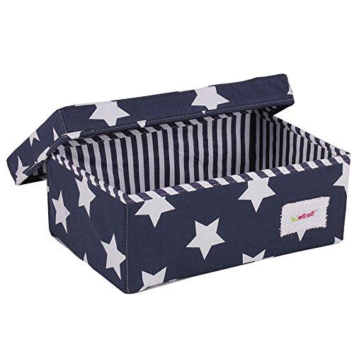 Minene Petite boîte de rangement pliable en tissu 32 x 21 x 12 cm (L x l x H) Organiseur de papeterie avec fleurs et étoiles (bleu et blanc)