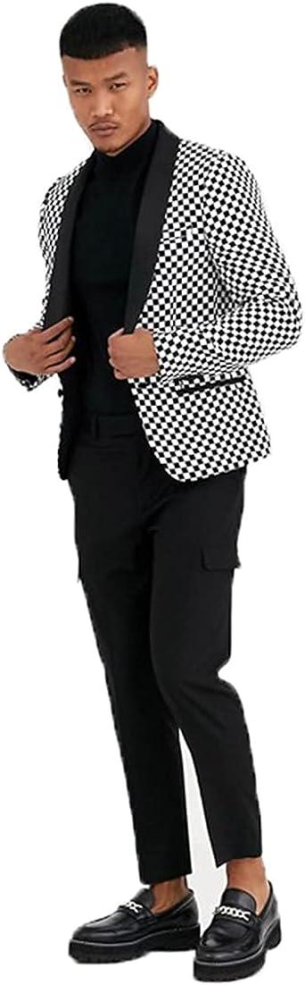 Men's Black White Plaid Suit Outfit Blazer Jacket with 2 Pockets