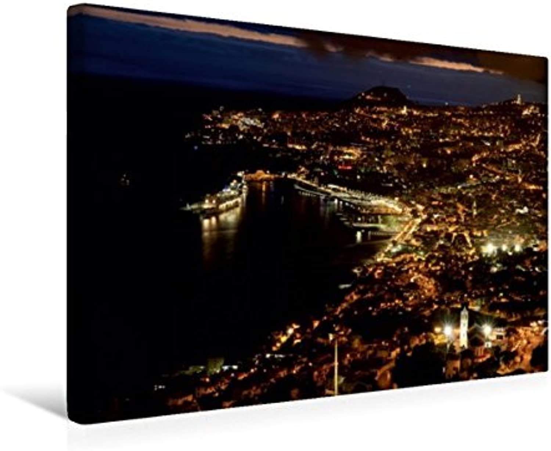 Calvendo Premium Textil-Leinwand 45 cm x 30 cm Quer, Funchal bei Nacht   Wandbild, Bild auf Keilrahmen, Fertigbild auf Echter Leinwand, Leinwanddruck Orte Orte B01KRQD5VC Kompletter Spezifikationsbereich  | Sorgfältig ausgewählte Materialien