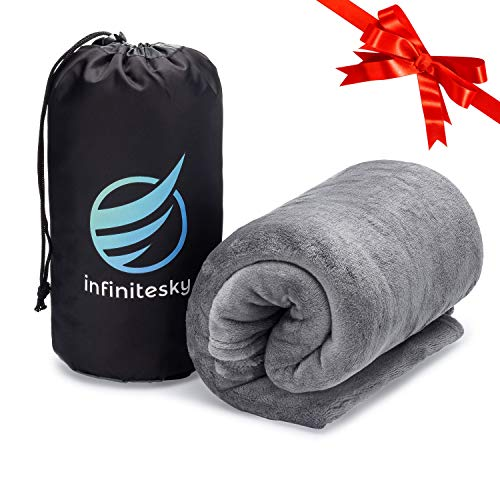 InfiniteSky Portable Fleece Blanket with Storage Bag | All-Season Machine Washable Soft Throw Blanket for Home and Travel | Microfiber Travel Blanket Throw 63 x 43 (Gray)