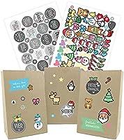OWLBOOK Adventskalender zum Befüllen Kinder - 25 Tüten 24 Aufkleber Zahlen 89 Weihnachtskalender Sticker - Papiertüten...