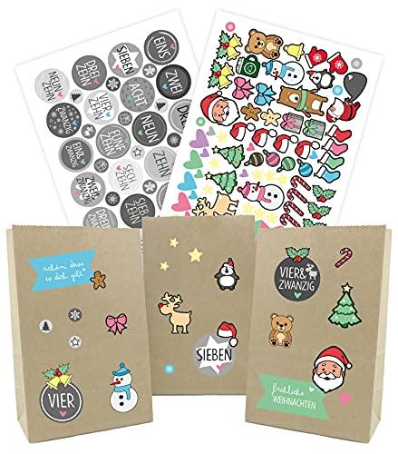 Adventskalender zum Befüllen Kinder - 25 Tüten 24 Aufkleber Zahlen 89 Weihnachtskalender Sticker - Papiertüten zum selber füllen Bastelset Kinder - für Mädchen Jungen Männer Frauen Grau