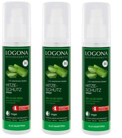 Logona Hitzeschutz Spray Bio- Aloe Vera, alle Haartypen, 3 x 150ml