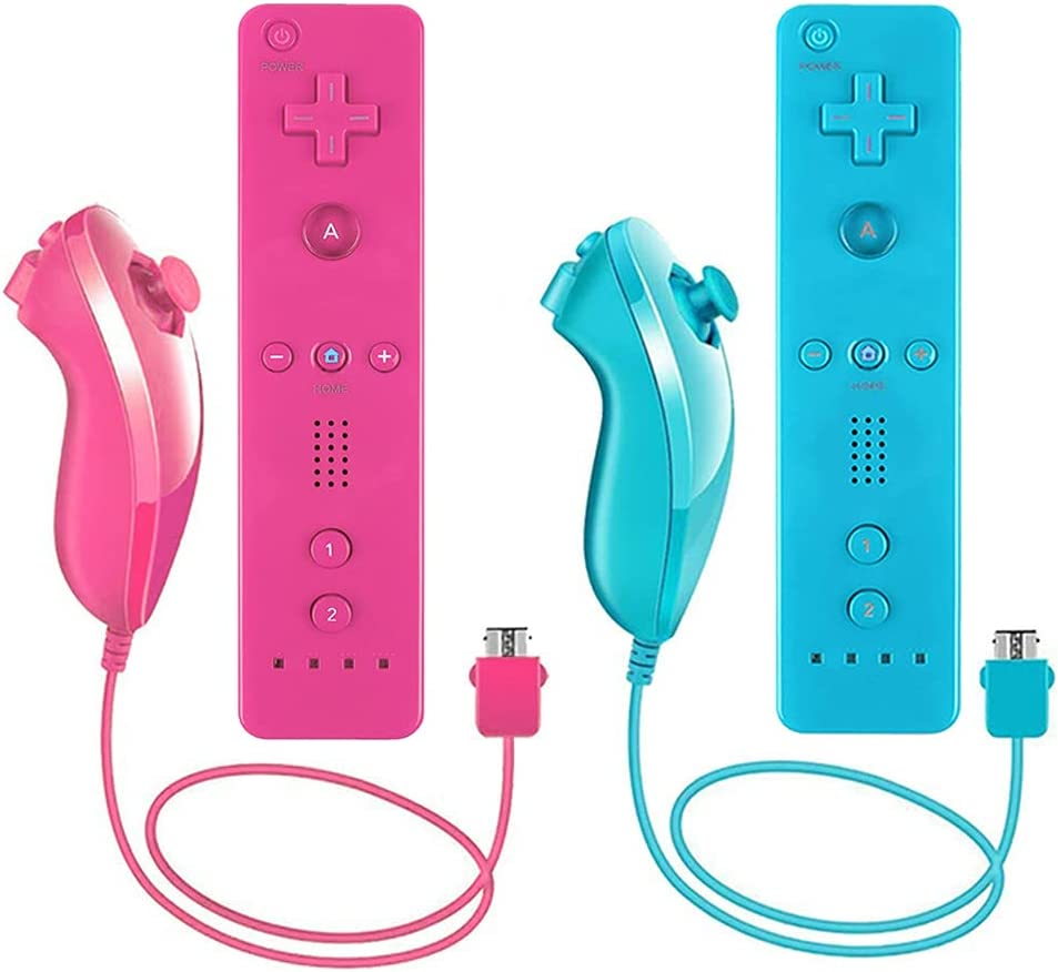 Lactivx 2 Packs Nunchuck and Wii Remote Controller with Silicone Case and Strap Compatible with Wii Wii U Console (Blue and Pink)