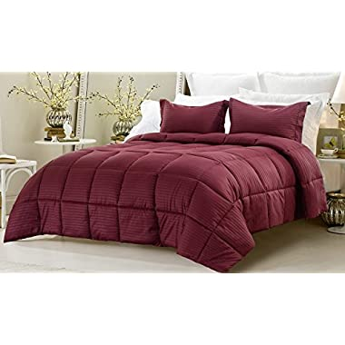 3pc Reversible Solid/ Emboss Striped Comforter Set- Oversized and Overfilled - 2 bedding looks in 1 - Queen-Wine