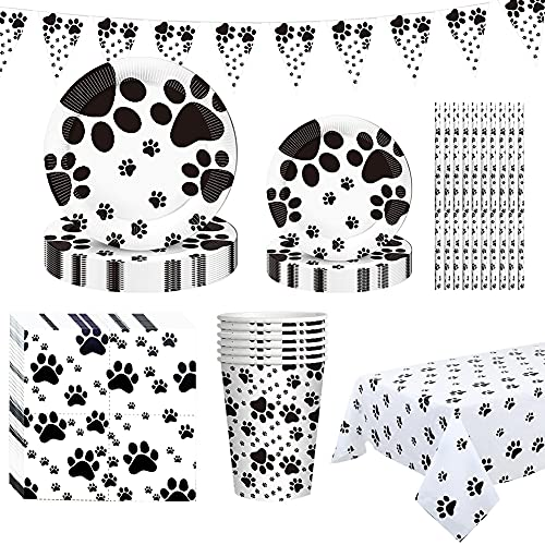 Dog Paw Prints Party Supplies, PartyBloom 62PCS Dog Disposable Tableware with Dog Paw Prints Plates Cups Napkins Serves 10 for Dog Birthday Theme Party Decorations
