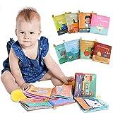 Lictin Livre Bebe Eveil - Lot de 8 Soft Book Baby, Lavable Livre Tissu Bébé Eveil with Anneau et Effets Sonores, Educatif en Tissu Jouets pour Enfants