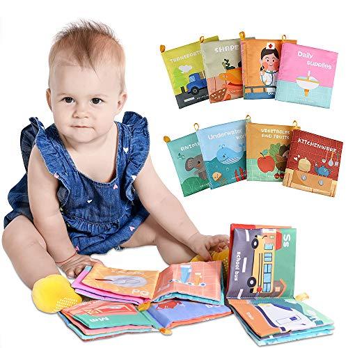 Lictin Libri di Stoffa per Neonati - 8 Pcs Libri di Stoffa Baby - Libro di apprendimento educativo precoce Giocattolo per Neonati Neonati(6-12 Mesi)