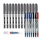 MP - Bolígrafos Punta Fina de Bola PREMIUM 0.5mm, Perfectos para Trabajos que Requieran Preción Tinta Líquida, Firmar, Escribir o Incluso Dibujar. Pack 20 Unidades - Negro